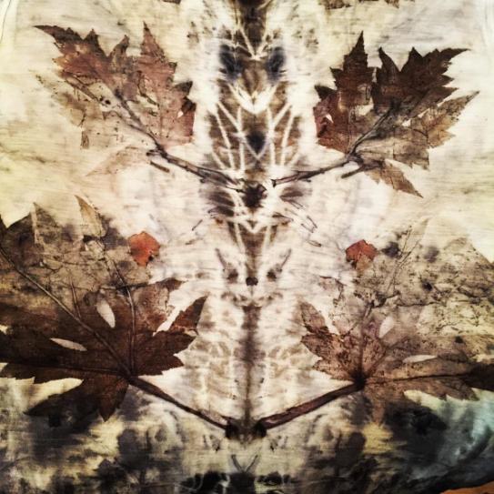 leaf printed merino wool